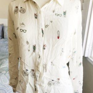 Zara Cream Pattern Blouse ☆